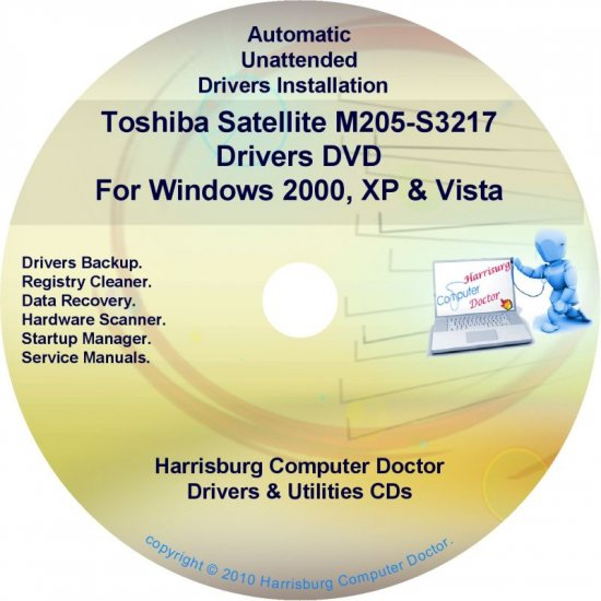 Toshiba Satellite M205-S3217 Drivers Recovery CD/DVD