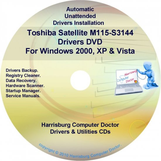 Toshiba Satellite M115-S3144 Drivers Recovery CD/DVD