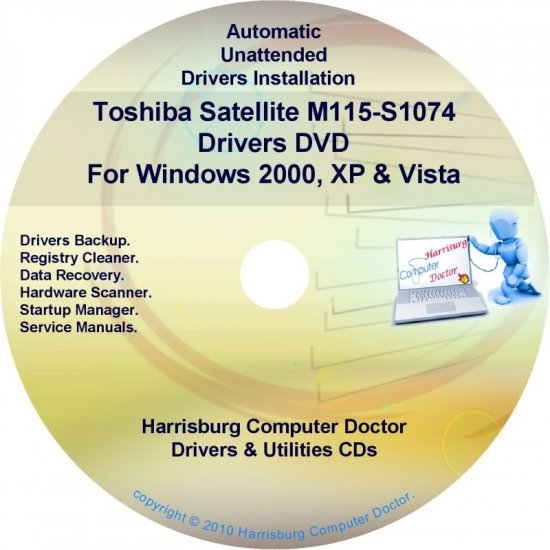 Toshiba Satellite M115-S1074 Drivers Recovery CD/DVD