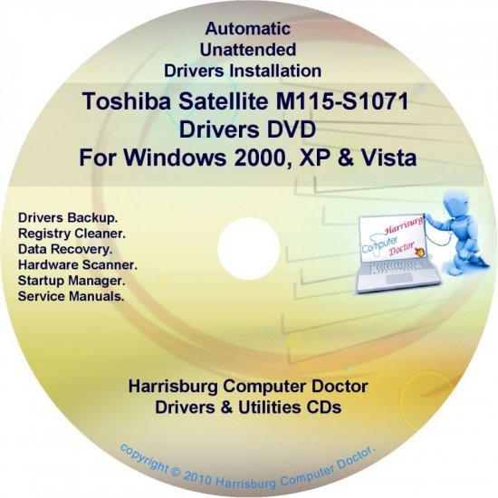 Toshiba Satellite M115-S1071 Drivers Recovery CD/DVD