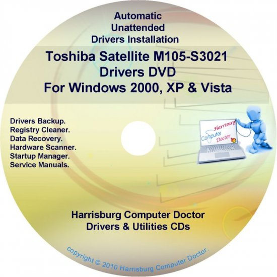 Toshiba Satellite M105-S3021 Drivers Recovery CD/DVD