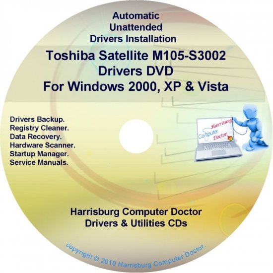 Toshiba Satellite M105-S3002 Drivers Recovery CD/DVD