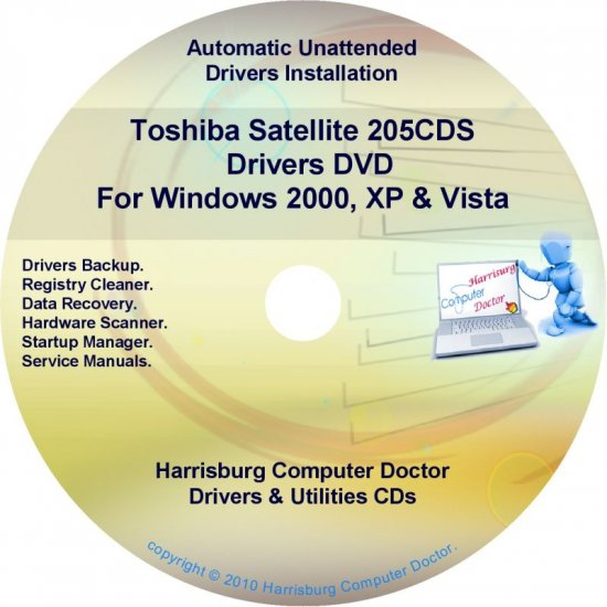 Toshiba Satellite 205CDS Drivers Recovery CD/DVD