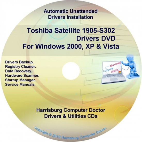 Toshiba Satellite 1905-S302  Drivers Recovery CD/DVD