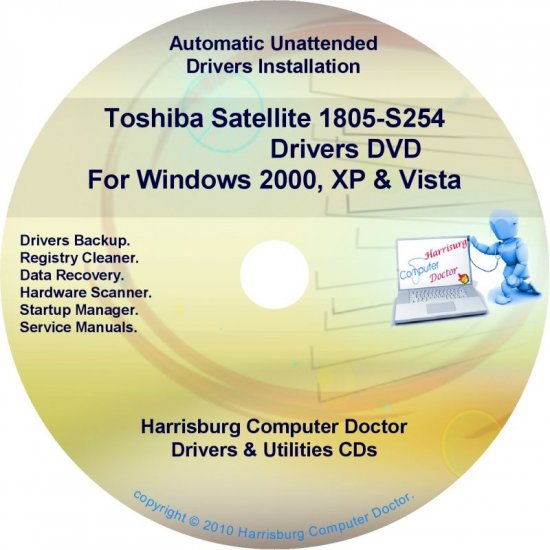 Toshiba Satellite 1805-S254 Drivers Recovery CD/DVD