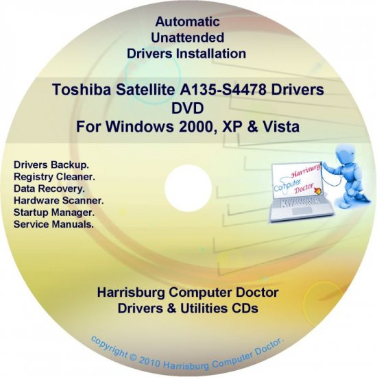 Toshiba Satellite A135-S4478 Drivers Recovery CD/DVD