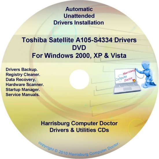 Toshiba Satellite A105-S4334 Drivers Recovery CD/DVD