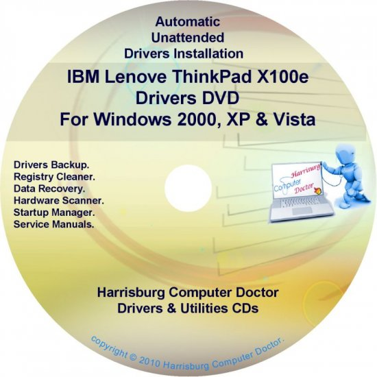 IBM Lenovo ThinkPad X100e Drivers Recovery Disc CD/DVD