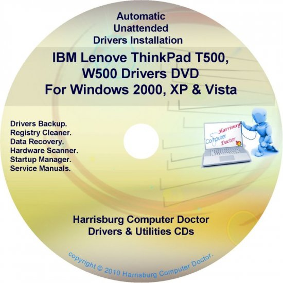IBM Lenovo ThinkPad T500 & W500 Drivers Disc CD/DVD