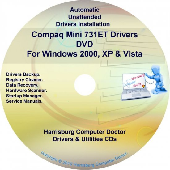 Compaq Mini 731ET Drivers Restore HP Disc Disk CD/DVD
