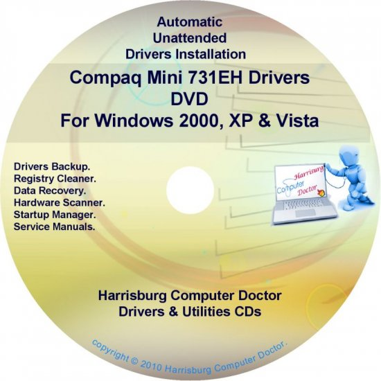 Compaq Mini 731EH Drivers Restore HP Disc Disk CD/DVD
