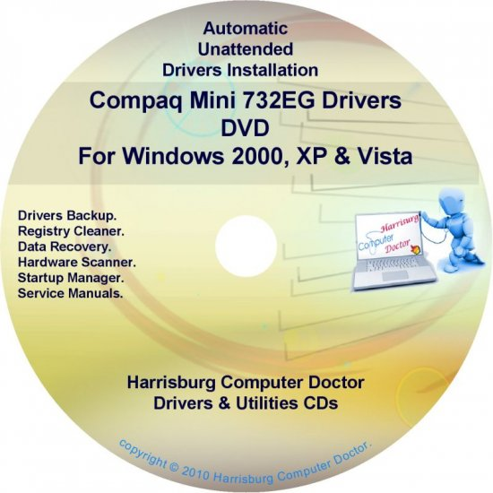 Compaq Mini 732EG Drivers Restore HP Disc Disk CD/DVD