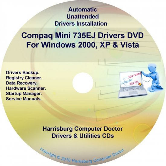 Compaq Mini 735EJ Drivers Restore HP Disc Disk CD/DVD