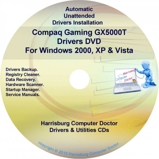 Compaq Gaming GX5000T Drivers Restore HP Disc CD/DVD