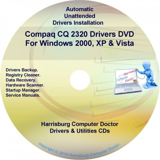 Compaq CQ2320 Drivers Restore HP Disc Disk CD/DVD