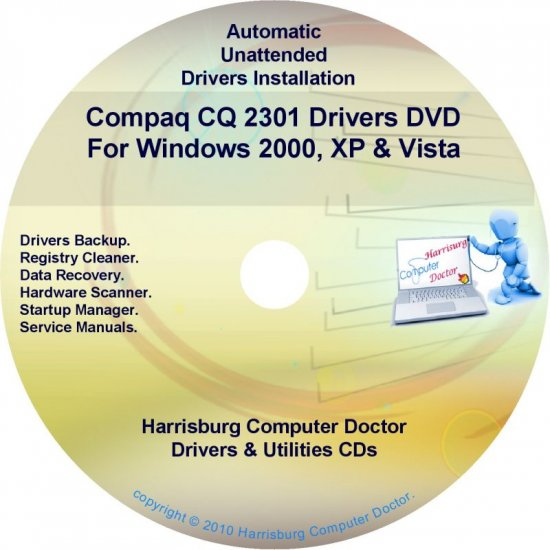 Compaq CQ2301 Drivers Restore HP Disc Disk CD/DVD
