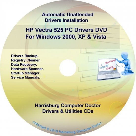 HP Vectra 525 PC Driver Recovery Restore Disc CD/DVD