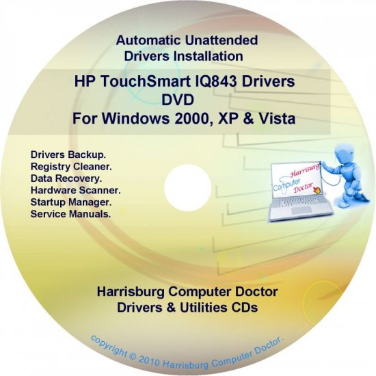HP TouchSmart IQ843 Driver Recovery Disc CD/DVD