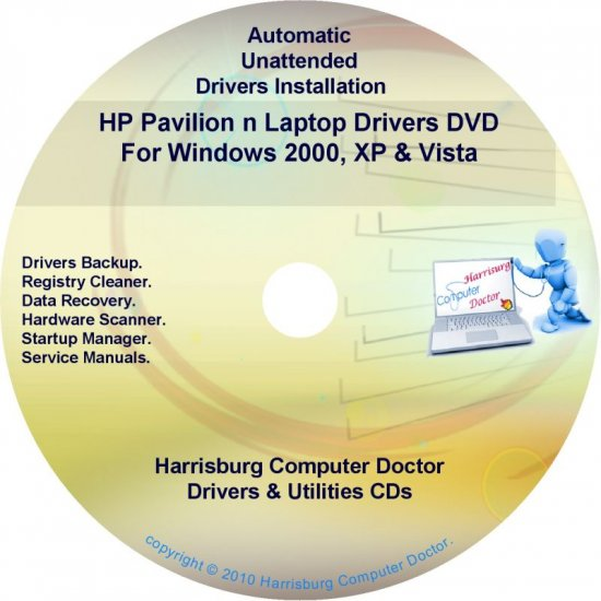 HP Pavilion n Laptop Driver Recovery Disc CD/DVD