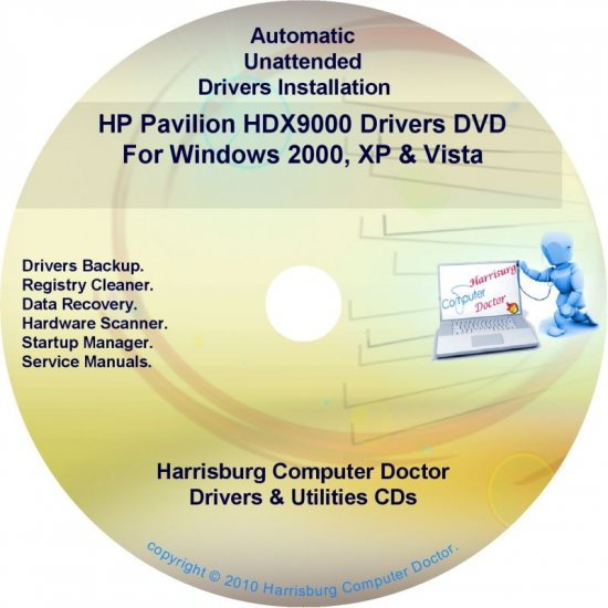 HP Pavilion HDX9000 PC Driver Recovery Disc CD/DVD