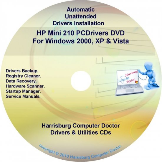 HP Mini 210 PC Driver Recovery Restore Disc CD/DVD