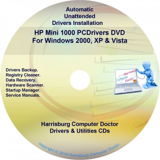 HP Mini 1000 PC Driver Recovery Restore Disc CD/DVD