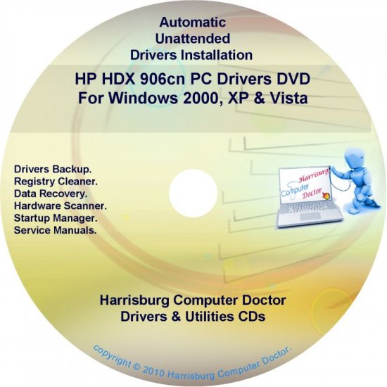 HP HDX 906cn PC Driver Recovery Restore Disc CD/DVD