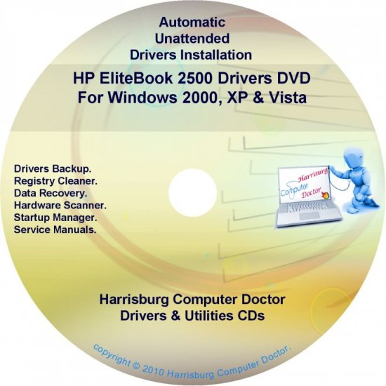 HP EliteBook 2500 Driver Recovery Restore Disc CD/DVD