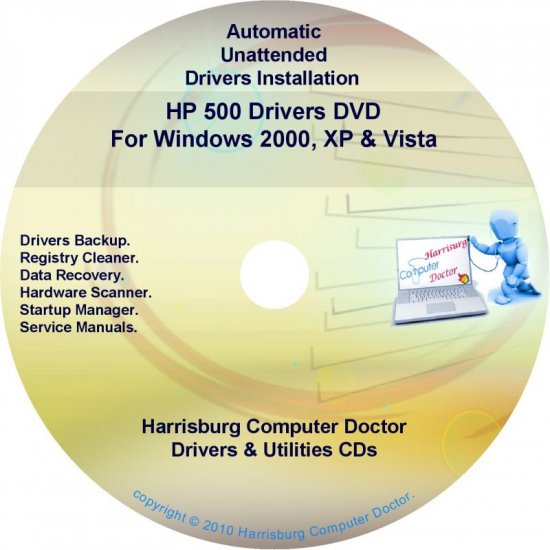 HP 500 Driver Recovery Restore Software Disc CD/DVD