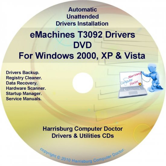 eMachines T3092 Drivers Restore Recovery CD/DVD