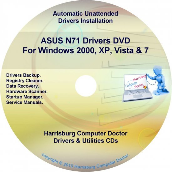 Asus N71 Drivers Restore Recovery CD/DVD