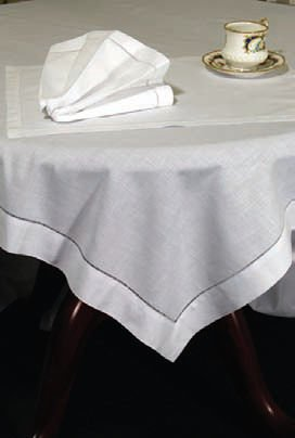 "Hemstitched Tablecloth 65"" x 84""	White"