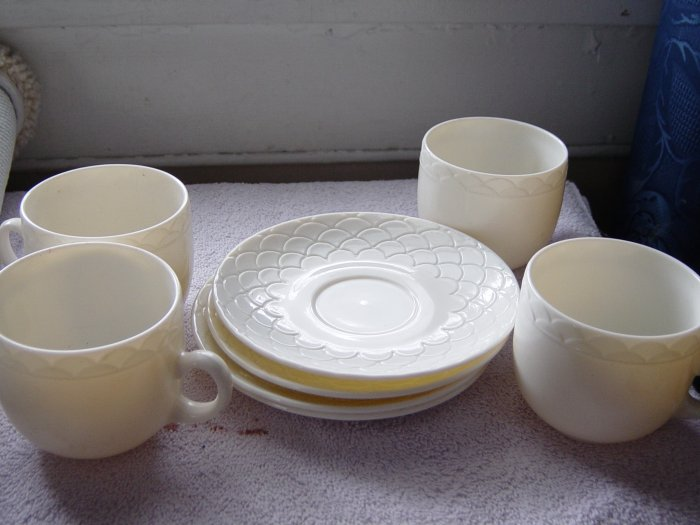 Four Cream China French Cups and Saucers #100002