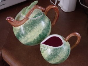 Large Green Melon Teapot and Creamer #100008