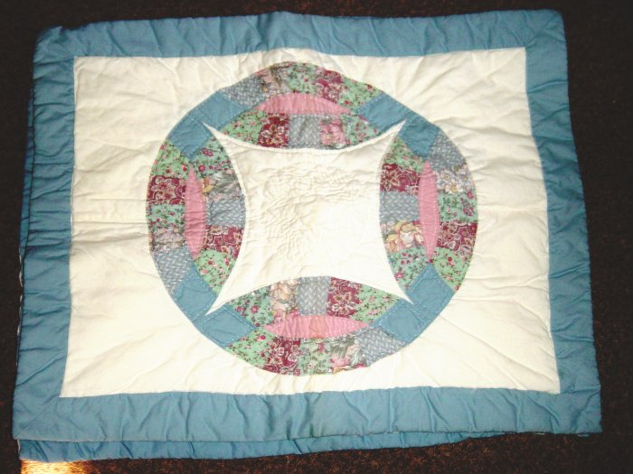 Set of Two Quilted Pillow Shams Double Rings Pattern #100009