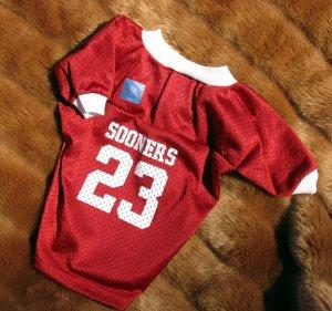 Oklahoma University OU Sooners Deluxe NCAA Football Team Sports Dog Jersey Small Size