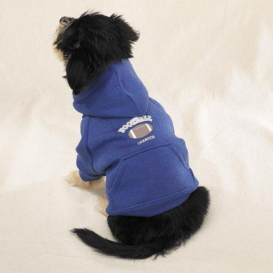 Blue Hooded Dog Football Sweatshirt Pet Apparel Medium Size