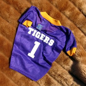 Louisiana State University LSU Tigers Deluxe NCAA Football Sports Logo Dog Jersey Medium Size
