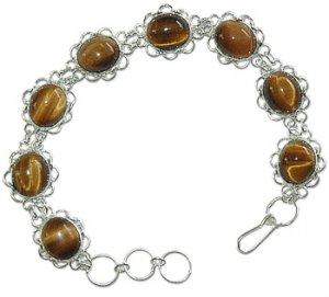 .925 SS Oval Tigereye Flower Bracelet 7.75 inches