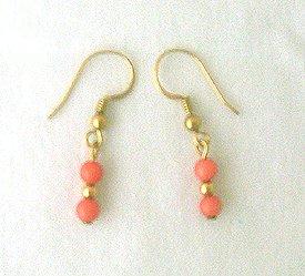 14K GF Genuine Coral Drop Earrings 1 1/4 Long