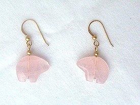 14K GF Rose Quartz Zuni Bear Earrings - 1 3/8 long