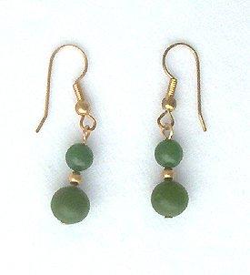 14K GF Burmese Jade Drop Earrings - 1.5 inches