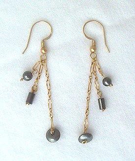 14K GF Hematite Dangle Chain Earrings - 2 1/4 L