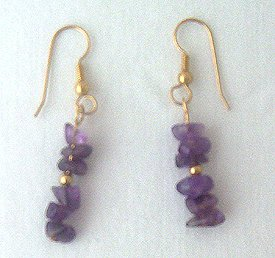 14K GF Amethyst Chips Drop Earrings - 1 3/4 Long