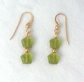 14K GF Peridot Stars Drop Earrings - 1 1/2 Long