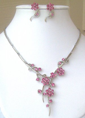 Silver Pink Austrian Crystal Floral Necklace & Earrings