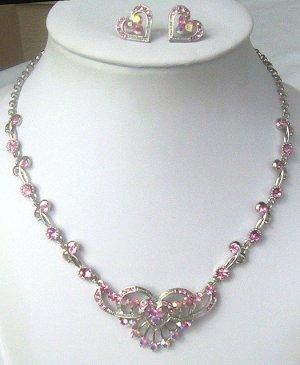Silver Pink Swarovski AB Crystal Heart Necklace Set