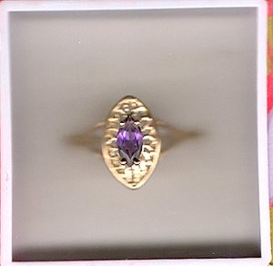 10K Gold Genuine Marquis Amethyst Filigree Ring Sz 6.5