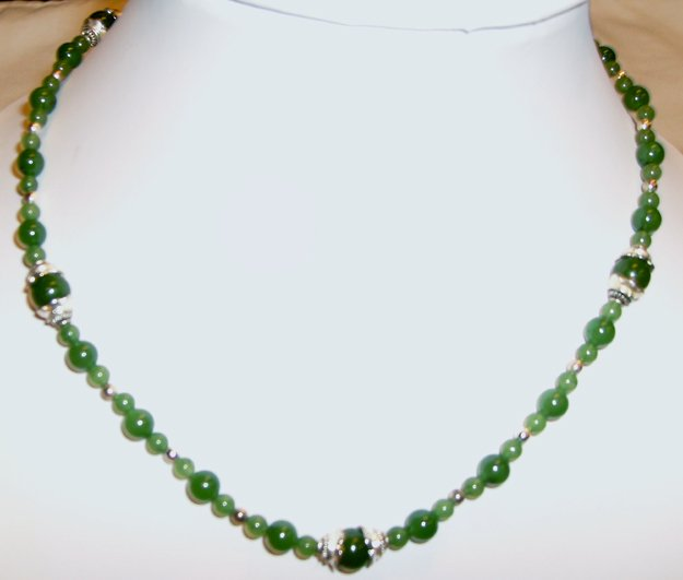 .925 SS Burmese Jade Bead Necklace - 17.75 Inches