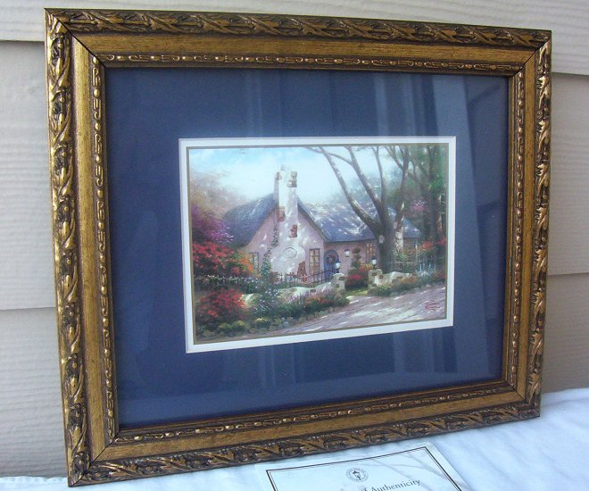 Thomas Kinkade Morning Glory Cottage Print Matted  Antique Frame